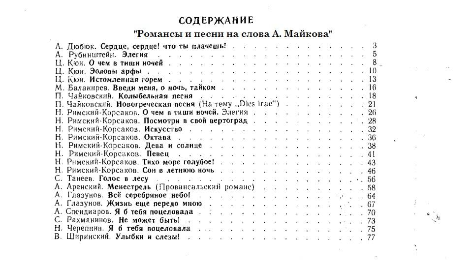 Содержание - Романсы и песни на слова Майкова